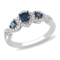 1/2 CT. T.W. Enhanced Blue and White Diamond Frame Three Stone Ring in 14K White Gold