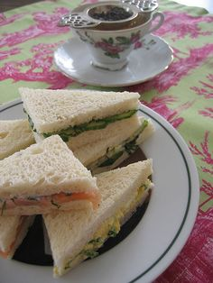Finger Sandwiches for Afternoon Tea - tips and links for making these traditional tea sandwiches. Tea Sandwiches, Finger Sandwiches, Pinwheel Sandwiches, Cucumber Sandwiches, Samosas, Empanadas, Brunch, Scones, Tea Recipes