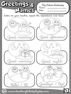 Greetings and Names - Picture Dictionary (B&W version) English Activities For Kids, Learning English For Kids, English Worksheets For Kids, Kids English, English Lessons, Learn English, English Classroom, Classroom Language, Printable Preschool Worksheets