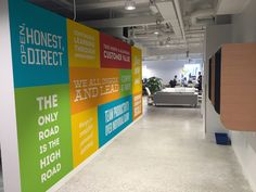 Designs for Millennials. More Than Just a Workplace @ Influitive's Toronto OfficeOffice Designs for Millennials. More Than Just a Workplace @ Influitive's Toronto Office School Hallways, School Murals, Hospital Signage, School Bathroom, Office Walls, Office Boards, Office Branding, Company Values, Co Working