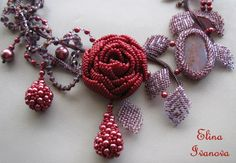 Beaded flower necklace rose exclusive handmade by Elinawonderland