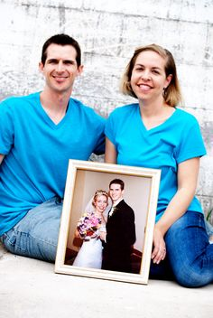 Our wedding picture within our 10 year anniversary pic. I like this idea but not the matching shirts!!!