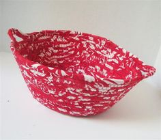 Cherry and White Bowl with Handles by PiecefulDesign on Etsy, $17.00