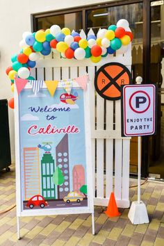 Cali's Charming Transportation Themed Party – Entrance Car Themed Parties, Cars Birthday Parties, Birthday Party Decorations, Car Birthday, 1st Birthday Boy Themes, Boy Birthday Invitations, Birthday Ideas, Cali, Manila