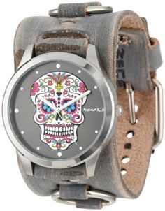 Nemesis Women's FRB925K Punk Rock Collection Black Sugar Skull Leather Cuff Band Watch, http://www.amazon.com/dp/B004FPOBXS/ref=cm_sw_r_pi_awdm_esy8tb00M65WC