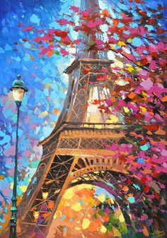 Paris autumn Oil Palette Knife Painting on Canvas by by spirosart: