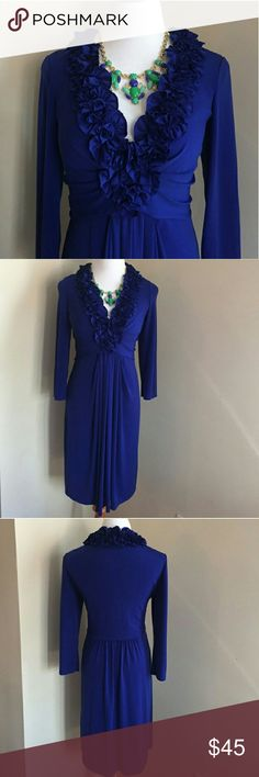 The Blue Dress Gorgeous and feminine blue dress from Maggie London. Listed as Ralph Lauren to market to that audience as the style is similar to several I have by them.   Size 14 95% polyester 5% spandex  Sexy figure flattering cut, drapes beautifully.  You will look smashing in this stylish dress!! Ralph Lauren Dresses