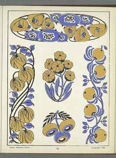 Heaveninawildflower — More floral Art Nouveau designs taken from. Art Nouveau Pattern, Art Nouveau Design, Design Art, Art Floral, Motif Floral, Art Deco Illustration, Motifs Textiles, Textile Patterns, Art Inspo