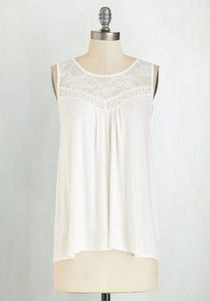 Sweet-Spirited Top - White, Sleeveless, Mid-length, Sheer, Knit, Lace, White, Lace, Casual, Boho, Sleeveless, Spring, Summer, Scoop, Good