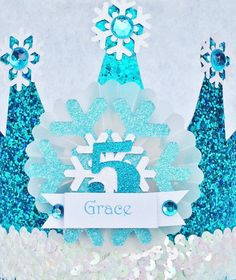 Sparkly Elsa Frozen Birthday Crown Party Hat by LittlePinkTractor