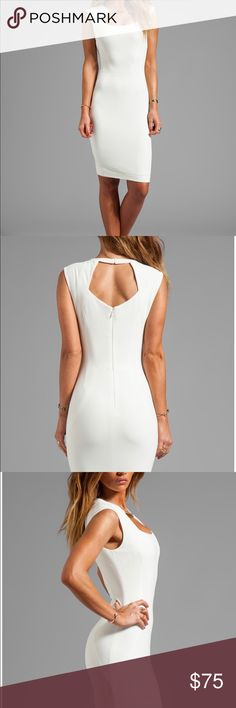 BCBG Maxazria Off White Keyhole Sheath Dress sz 8 Self: 64% poly , 32% viscose , 4% spandex Lining: 89% poly , 11% spandex Fully lined Hand wash cold Front cut out with metal bar accents Back cut out with button closure Center back zipper closure Manufacturer Style No. FZB6Y727 BCBG Dresses