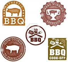 Vintage BBQ Stamps Stock Photo