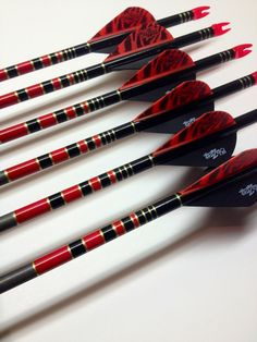 Custom Black and Red custom archery arrows. Archery Sights, 3d Archery, Archery Shop, Archery Gear, Archery Arrows, Archery Equipment, Bow Arrows, Archery Hunting, Hunting Arrows