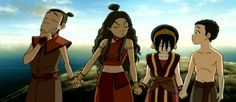 """Toph: """"…Do you really think that friendships can transcend lifetimes?"""" Sokka: """"Well, scientifically speaking, it's impossible-"""" Katara: """"Sokka, just hold hands!"""" [pause] [Sokka grabs Katara's hand]"""