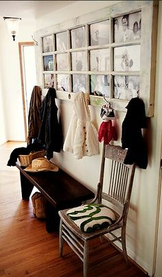 Very cute; use a old door or window add some pictures on back and some coat hooks. looks cute :)