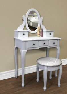 http://103rdavenue.com/white-vanity-table-set-jewelry-armoire-makeup-desk-bench-drawer/ This stylish contemporary vanity table comes with swivel adjustable mirrors and 5 storage drawers. Its great for storing all your jewelry and smooth tabletop provides space for cosmetics and beauty supplies. It also includes a matching wooden stool with floral padded upholstered seat. This is sure to accent your bedroom.  FEATURES: Elegant and stylish white...