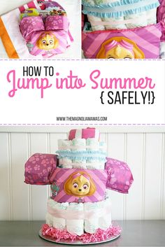 Let kids jump into summer safely by creating this fun and easy Summer Safety Cake. Made with items to promote water safety and includes the best water safety device for kids - the Sterns Puddle Jumper. #JumpIntoSummer #ad