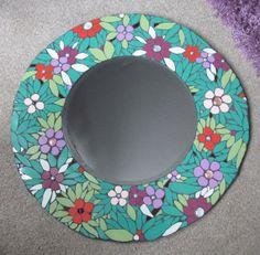 Unique handmade mosaic mirror 44cm diameter  by handmadebyhippo, £98.00