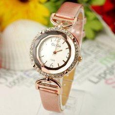quartz crystal watches Hotsale Elegant Gold Pink Leather Crystal Wrist fashion Women dress watch # gogo002-3 Sample$15 8-28 $4.88