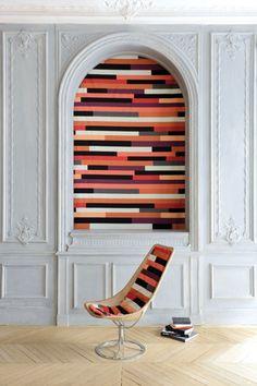 Washable multi-colored linen #fabric TWIST by LELIEVRE | #design Sonia Rykiel #colour