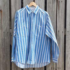 VTG 80s Men's LEE Striped Shirt  Rockabilly by TomieHarleneVintage  #vintageclothing #vintagemensgoods #lee #leebrand #stripedshirt #oxford #blueandshite #80svintage #80sfashion #80s #vintageshirt #uniquevintage #rockabilly