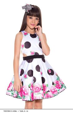 Vestido Miss Cake Moda Infanto Juvenil 510504 Baby Girl Dresses, Little Dresses, Ideias Fashion, Gowns, Summer Dresses, Bandanas, Look, Disney, Short Gowns