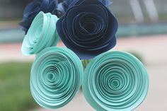 12 Elegant Teal and Navy Blue Paper Flower Bouquet - Stemmed  - Centerpiece - Weddings -  Home Decor - Gift - Party - Baby Shower via Etsy
