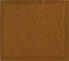 Anni Albers - TR III, 1970 gold-embossed screenprint 16 1/2 × 18 1/2 ins. (41.9 × 47 cm)
