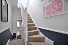 Is this what you meant about navy at the bottom. you don't have a dado rail by the new stairs yet, do you? Stiffkey Blue from Farrow and Ball is what we have in our lounge. Hallway Colours, White Hallway, Dado Rail Hallway, Hallway Paint, Hallway Inspiration, Hallway Ideas, Navy Living Rooms, Dining Rooms, Hall Colour