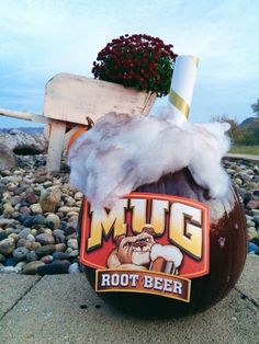 DIY Root Beer Pumpkin. Cute Pumpkins. Brown Paint and Pillow Stuffing. #cutepumpkins #pumpkin #decorating