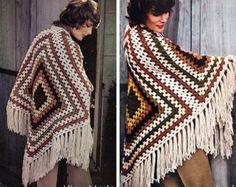 Crochet PATTERN Vintage 1970s EASY PONCHO Pattern by VintageBeso
