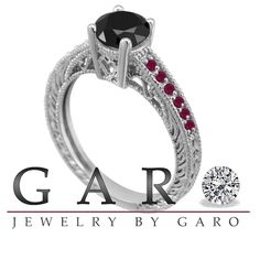 Fancy Black Diamond and Red Ruby's Engagement Ring 14K White Gold 1.14 Carat Antique Vintage Style Pave Handmade