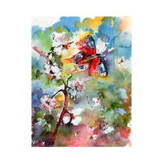#Spring #Blossoms with #Butterfly and #Bees Original #Watercolor by #Ginette #Callaway