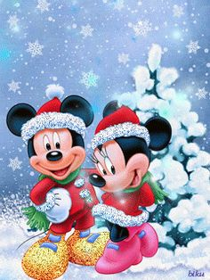Mickey Mouse and Minnie Mouse Christmas Scenes, Christmas Wishes, Christmas Art, Minnie Mouse Christmas, Mickey Mouse And Friends, Mickey Mouse Wallpaper, Disney Wallpaper, Wallpaper World, Mickey Minnie Mouse