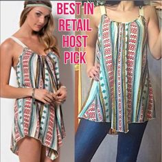 ❗️LAST ONE TRIBAL PRINT SLEEVELESS TUNIC MADE IN USA - This effortless, slouchy sleeveless multi print tribal tunic / mini dress features cream colored soft straps (thick enough to cover a bra strap) with dropped armholes and a slightly low back. Made of 100% Polyester. Have S(2-4) M(6-8) L(10-12) made for a perfectly relaxed fit. This will be your favorite go-to tunic! Price is absolutely firm and sold out everywhere! You may purchase this listing as I've created individual listings for…