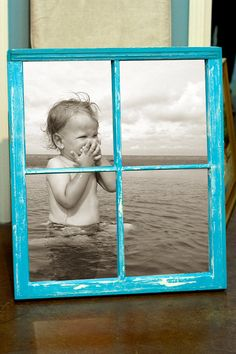 What a great idea! Old window upcycled to picture frame (photo, black and white, display, painted, used, projects, crafts, DIY, do it yourself, interior design, home decor, easy, repurposed, fun, colourful, cheap, reduce, reuse, recycle, ideas, inspiration, blue)