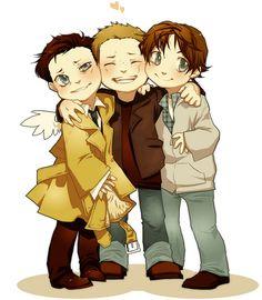 Cute Supernatural Chibi's :  Castiel, Sam Winchester, Dean Winchester