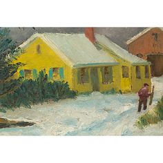 Pre-Owned Winter Landscape ($289) ❤ liked on Polyvore featuring home, home decor, wall art, landscape painting, colorful wall art, winter landscape painting, colorful home decor and unframed wall art