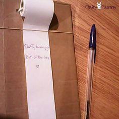 DIY notepad from cardboard and cashier paper! Σημειωματάριο από χαρτόνι και ρολό χαρτί ταμειακής μηχανής! #diy Fluffy Bunny, Container