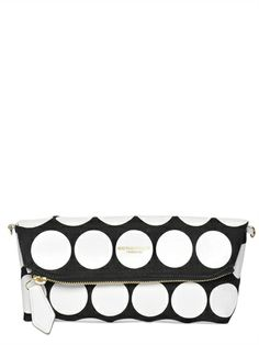 BURBERRY PRORSUM - POLKA DOT LEATHER & CANVAS CLUTCH