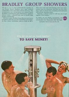 "Bradley Group Showers Ad, ""To Save Money!,"" Funny and Unintentionally Gay Vintage Advertising."