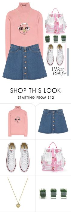 """#IWearPinkFor"" by eoktarinda ❤ liked on Polyvore featuring Shrimps, Monki, Converse, Michael Kors and IWearPinkFor"