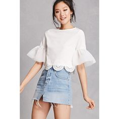 Forever21 Bell Sleeve Crop Top ($28) ❤ liked on Polyvore featuring tops, white, white 3 4 sleeve top, flared sleeve top, flared sleeve crop top, forever 21 and white bell sleeve top