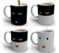 Heat Changing Face Mug Morning Color Cup Coffee Sensitive Magic Tea Hot Reactive Cold