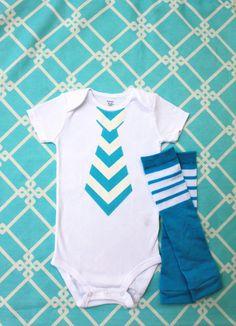 Baby Boy Summer Fashion Aqua Teal Chevron Tie Onesie and Football Striped Leg Warmers Set.  Chevron fabric in Yellow, Black, Gray, more.. $24.95, via Etsy.    DIY the onesie!