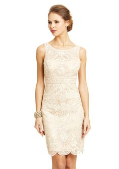ideeli   SUE WONG Lace Overlay Illusion Neck Dress
