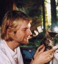 Kurt Cobain with a kitten