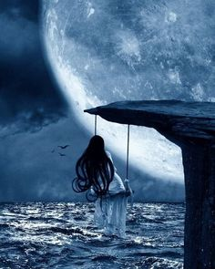 I love everything having to do with the moon, stars, clouds, etc. So, I would LOVE to be sitting on the swing watching the moon =) Moon Moon, Moon Art, Blue Moon, Fantasy Magic, Fantasy World, Fantasy Kunst, Fantasy Art, Moon Magic, Beautiful Moon
