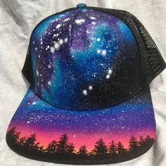 e284289d Custom Painted Galaxy Flat Bill Snapback Trucker Hat - Milky Way Forest,  Night Sky, Cap, Mesh Back,