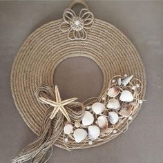Deko 6 Knowing Cool Tips: Table Lamp Shades Modern repurposed lamp shades projects.Lamp Shades Diy G Shabby Chic Lamp Shades, Modern Lamp Shades, Jute Crafts, Diy And Crafts, Arts And Crafts, Seashell Crafts, Beach Crafts, Shell Art, Diy Wreath